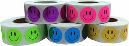 Happy Face Dot Stickers, 3/4 Inch Round Labels, 500 on a Rol