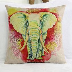 Luxbon - Red Indian Wedding Elephant Cotton Linen Sofa Chair
