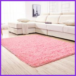Soft PINK Shaggy Area Rugs For Girls Room Bedroom Non Slip K