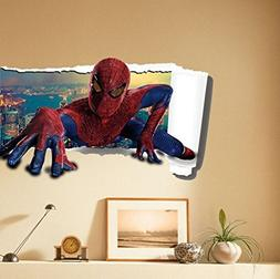 Spiderman 3D Cracked Children Themed Art Boy Room Wall Stick