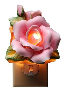 """StealStreet SS-CG-56406 4.13"""" Painted Pink Rose with Green L"""