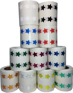 Star Stickers, 1/2 Inch Wide Labels, 1000 Stickers on a Roll