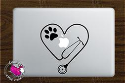 Stethoscope Heart PAW Cutout  Vinyl Decal Stickers for MacBo