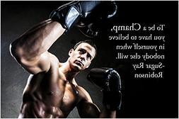 STRONG AGILE BOXER motivational poster FITNESS SPORTS champ