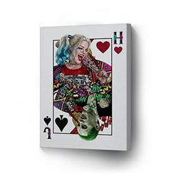 Suicide Squad Joker and Harley Quinn Playing Card Canvas Pri