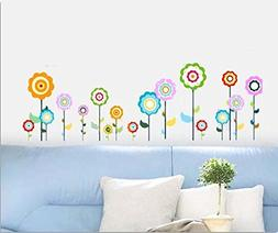 BIBITIME Multicolored Sunflower Wall Stickers Decal Bedroom
