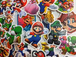 SUPER MARIO BROS lot of 50 vinyl decal SET WALL cell phone H