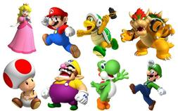 SUPER MARIO BROS 8 CHARACTERS SET Decal WALL STICKER Home De