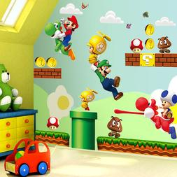Super Mario Bros Mural Wall Sticker Removable Vinyl Decals K