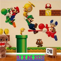 Super MARIO Wall Stickers Decals Removable Kids Boys Bed Roo
