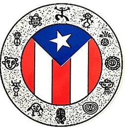 TAINO DRAWINGS WHEEL WITH PUERTO RICAN FLAG CAR STICKER DECA