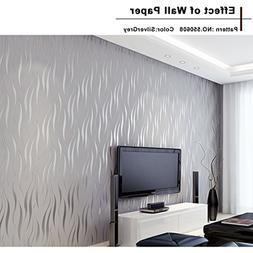 Homdox Textured Wallpaper, Modern Non-Woven 3D Wave Pattern