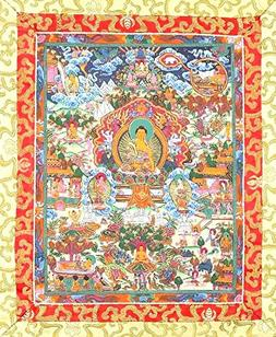 ShalinIndia Thangka Hanging Silk Canvas Buddhist Scroll Tape