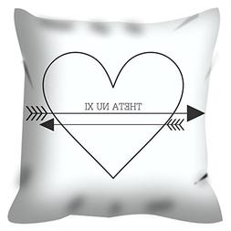 Theta Nu Xi Heart Arrows 16 inch Decorative Throw Pillow for