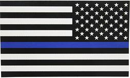 Thin Blue Line Flag Decal - 3x5 in. Black White and Blue Ame