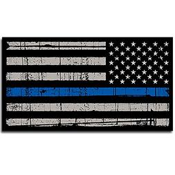 Thin Blue Line Police Distressed American Flag Sticker Decal
