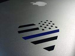 Thin Blue Line Heart Vinyl Decal for Home or Car - Looks Gre
