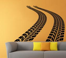 Tire Tracks Wall Decal Car Traces Vinyl Sticker Art Home Mur