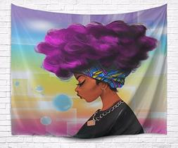A.Monamour Traditional African Black Women With Purple Hair