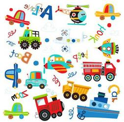 TRANSPORTATION wall stickers 34 decal car truck airplane boa