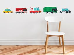 Transports Fabric Wall Decal, Set of 5 Emergency Rescue Vehi