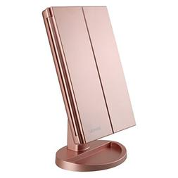 RICHEN DeWEISN Tri-Fold Lighted Vanity Makeup Mirror with 21