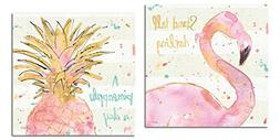 Gango Home Décor Tropical Hot Pink and Gold Watercolor Flam