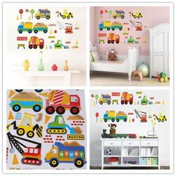 Cocobee Construction Vehicles Wall Stickers Truck Digger Cartoon Engineering Car Wall Decals Peel and Stick Removable Boy Wall Stickers Bedroom Playroom Decoration