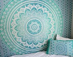 Exclusive Twin Green Ombre Tapestry by JaipurHandloom Ombre