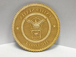 United States Air Force Logo; Laser Engraved Wood Plaque