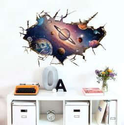 US 3D Wall Stickers Space Universe Window Room Decal Wallpap