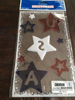 USA Red White and Blue Stars Window Gel Clings Patriotic