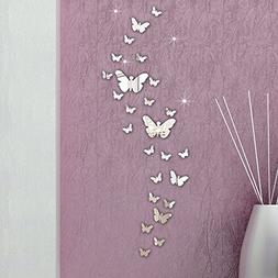 Ussore 30PC Butterfly Combination 3D Mirror Wall Stickers Ho