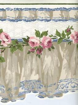 VICTORIAN BLUE ,TAUPE, AND WHITE VALANCE PINK ROSES SCULPTUR