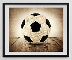 Vintage Soccer Ball on Vintage Background Fine Art Photograp