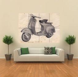 VINTAGE VESPA SCOOTER DRAWING GIANT WALL ART PRINT PICTURE P