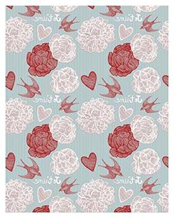 Yame 5x7ft Vinyl Digital Blue Wallpaper Flower Heart Swallow