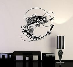 Vinyl Decal Fish Fishing Rod Hobbies Man Wall Stickers Mural