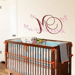 Vinyl Name Wall Decal Custom Name Quote Butterfly Wall Decal