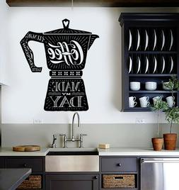 Vinyl Wall Decal Coffee Maker Quote Shop Kitchen Stickers Mu