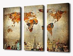 Wall Art World Map Canvas Art Vintage Map of the World Pictu
