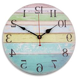 """Soledi Wall Clock 12"""" Vintage Colorful Stripe Rustic Country"""