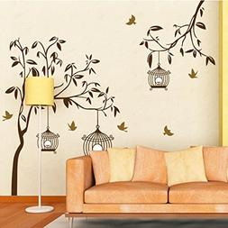Wall Decal Brown Tree Birds Birdcages Home Sticker Paper Rem