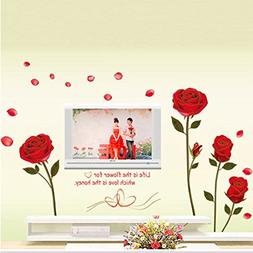 Wall Decal Red Rose Flowers Leaves Home Sticker Paper Remova