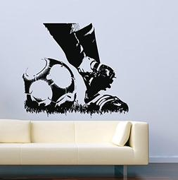 Sport Wall Decals for Kids Rooms Soccer Player Boots Ball Vi