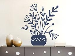 Wall Decals Flower Leaves Vase Bloom Nature Decal Vinyl Stic