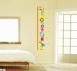 Wall Decor Removable Sticker -Animal Friends Height Measure