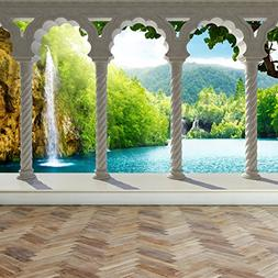 Wall Mural Waterfall in deep Forest Arch structure, Peel and