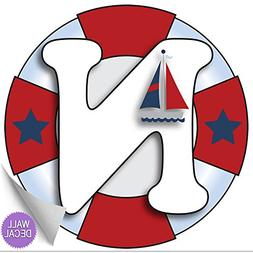 "Wall Letters ""N"" Nautical Ocean Sailing Red White Blue Lette"