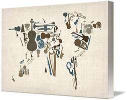 Wall Art Print entitled Musical Instruments Map Of The World